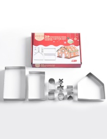 Fashion Silver 3d Stereo Stainless Steel Biscuit Gingerbread House Mould(10pcs)