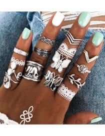 Fashion Silver Butterfly Heart Shaped Leaf Elephant Geometric Ring(14pcs)