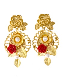 Fashion Golden Shaped Pearl Rose Resin Hollow Alloy Earrings