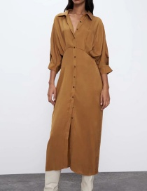 Fashion Ginger Single-breasted Shirt Dress With Patch Bat Sleeves