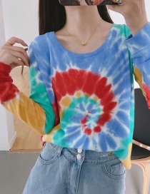 Fashion Color Printed Contrast Color Long Sleeve Round Neck Top