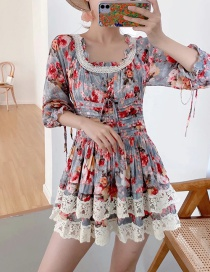 Fashion Color Printed Stitching Lace Pleated Tether Dress