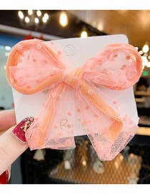 Fashion Orange Pink Net Yarn Wave Point Butterfly Combined With Blond Clip