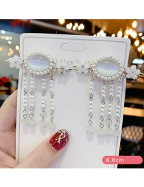 Fashion White Suit Diamond-shaped Resin Crystal Pearl Flower Geometric Tassel Children Hairpin