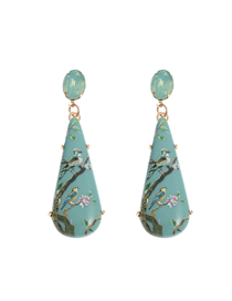 Fashion Blue Acrylic Printed Butterfly Alloy Earrings
