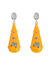 Fashion Yellow Acrylic Printed Butterfly Alloy Earrings