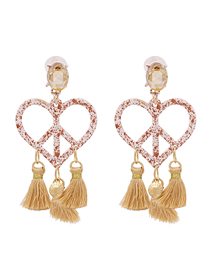 Fashion Khaki Heart-shaped Tassel Inlaid Rhinestone Alloy Hollow Earrings