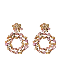 Fashion Color Hollow Flower Geometric Diamond Earrings