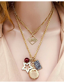 Fashion Golden Imitation Pearl Alloy Five-pointed Star Alphabet Multi-layer Necklace