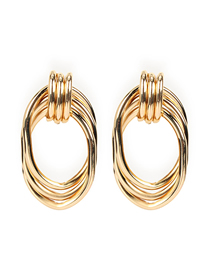 Fashion Golden Cross Geometry Alloy Hollow Earrings