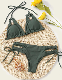 Fashion Green Lace-up Hollow Pleated Split Swimsuit