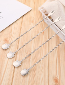 Fashion Single Silver Skull And Stainless Steel Spoon And Fork Integrated Dual-use Stirring Spoon