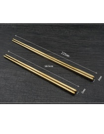 Fashion Long Gold Square Cloth Round Stainless Steel Chopsticks Tableware