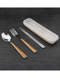 Fashion Spoon + Fork + Chopsticks (silver) Stainless Steel Log Spoon Fork Chopsticks Cutlery Set