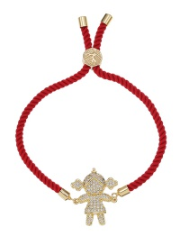 Fashion Red Copper Bracelet With Zircon Braided Rope For Girls