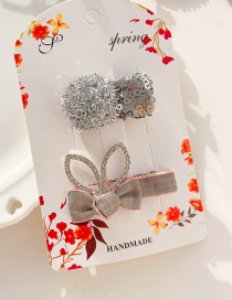 Fashion 2 Pieces Of Gray Rhinestone Rabbit Ears Bow Wrapped Alloy Hair Clip
