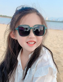 Fashion Dark Green Anti-uv Resin Square Children S Sunglasses