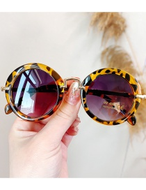 Fashion Round Frame Leopard Print Anti-uv Resin Round Children S Sunglasses