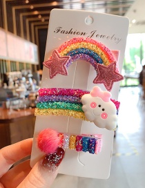 Fashion Rainbow + Cloud + Hair Ball Hairpin Sequined Animal Fruit Resin Alloy Geometric Hairpin Set