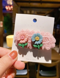 Fashion Pink Small Daisy Rope Knitting Color Alloy Hair Clip