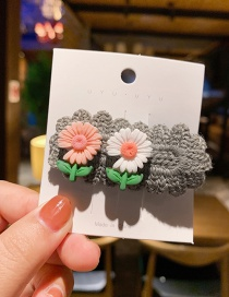 Fashion Gray Small Daisy Rope Knitting Color Alloy Hair Clip