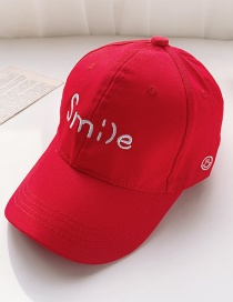 Fashion Red 2 Years Old To 12 Years Old Adjustable Duck Tongue Baseball Cap With Embroidered Shade (48cm-59cm)