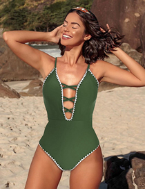 Fashion Green Stitching Contrast Lace Openwork Triangle One-piece Swimsuit