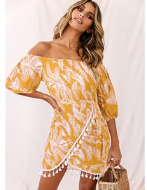 Fashion Yellow One-shoulder Fringed High-waist 3/4 Sleeve Irregular Leaf Print Dress