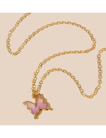 Fashion Pink Butterfly Oil Drop Pendant Alloy Necklace