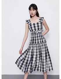 Fashion Lattice Checked Layered Ruffled Panel Dress