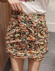 Fashion Colorful Floral Pleated Printed Slim Skirt