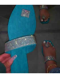 Fashion Sky Blue Plus Size Suede Breathable Clip Toe Rhinestone Sandals And Slippers