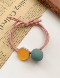 Fashion Milky Frosted Round Beads Dripping Alloy Resin Knotted Hair Rope