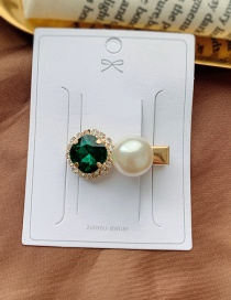 Fashion Dark Green / Mini Imitation Pearl Clip Diamond-shaped Pearl-cut Crystal Geometric Alloy Hairpin
