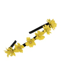 Fashion Yellow Alloy Flower Headband
