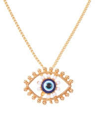 Fashion Eye Perforated Alloy Necklace With Pearl Dripping Eyes