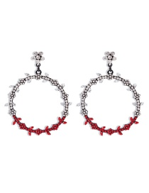 Fashion Red Diamond-shaped Leaves Contrast Color Flowers Geometric Hollow Earrings