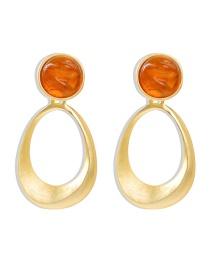 Fashion Yellow Resin Geometric Alloy Hollow Earrings