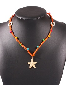 Fashion Orange Starfish Resin Alloy Braided Rope Necklace