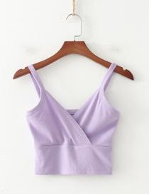 Fashion Purple Cross Stitching Exposed Navel Camisole Vest