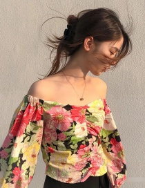 Fashion Colorful Flower Print Shoulder Pleated Top