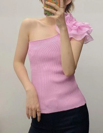 Fashion Pink Asymmetrical Top With Flower Decoration
