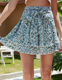 Fashion Blue Floral Print Ruffled Butterfly Lace Skirt