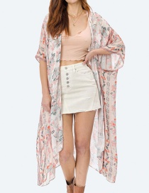 Fashion Pink Printed Chiffon Split Long Shawl Cardigan