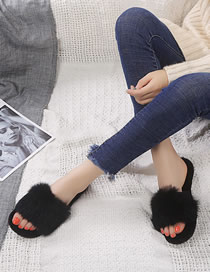 Fashion Black Rabbit Fur Flat Toe Open-toe Fur Slippers