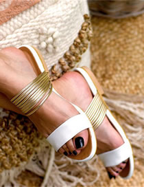 Fashion White Flat Open-toe Rubber Sandals