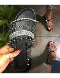 Fashion Black Large Size Rivets Rhinestone Flat Sandals And Slippers
