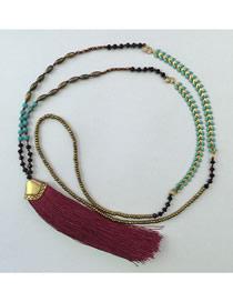 Fashion Maroon Tassel Crystal Handmade Beaded Long Necklace
