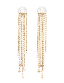 Fashion Gold Color Pearl Chain Long Fringe Earrings