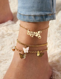 Fashion Gold Color Alphabet Butterfly Alloy Chain Multi-layer Anklet